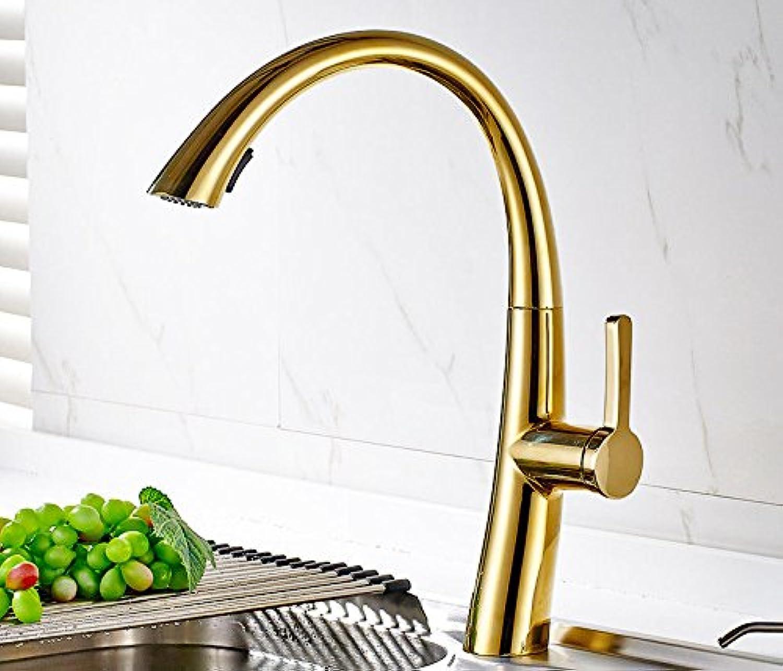 QIMEIM Küchenarmatur Wasserhahn Küche Kalte heie Messing Schwenkauslauf Goldfarbe Mischbatterie Küchenwasserhahn Spültischarmatur Spülbecken Armatur