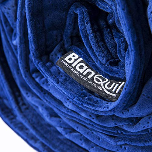 BlanQuil Quilted Weighted Blanket W/Removable Cover (Navy 15lb)