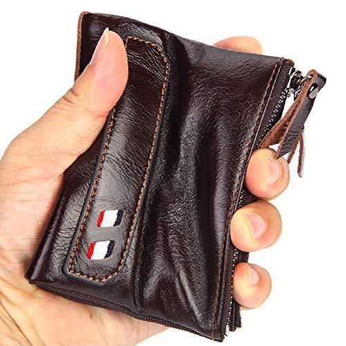 ZHHID - Cartera con pinza para billetes para hombre, piel, estilo vintage,...