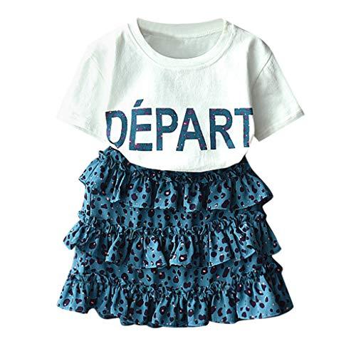 Julhold Peuter Kinderen Baby Meisjes O-hals Korte mouw Outfits Kleding Letter Print T-Shirt+Luipaard Rok Set Zomer