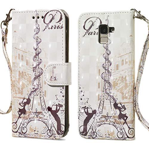 AIFILLE Custodia Galaxy J3 2016 Portafoglio Torre Eiffel di Parigi Modello PU Pelle Stile del Libro Morbido Silicone Flip Smart Cover per Samsung Galaxy J3 2016 5 Pollici Bumper Protettivo Rigida