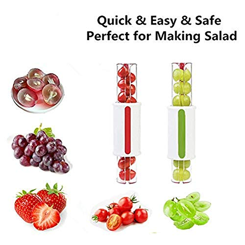 Grapes Cutter Tomatoes Cherry Slicer,Fast and Easy Large Amount of Salad, Grape Slicer For Kids Fruit Slicer Kitchen Accessories (Green 1 pack)