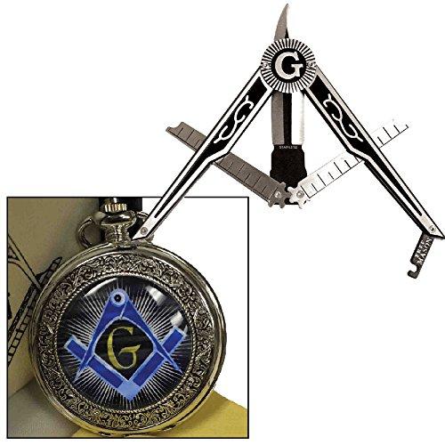 Symbolic Collectible Masonic Pocket Watch & Freemason Folding Compass Knife