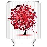 Doduo Duschvorhang, rot, Herz, Baum, wasserdicht, Polyester, Set mit Haken (B x H) 183,9 x 183,9 cm