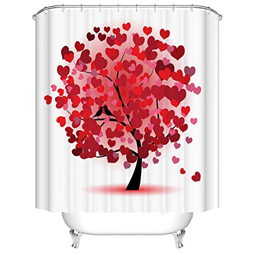Doduo Red Love Heart Tree Bathroom Decor Shower Curtain...