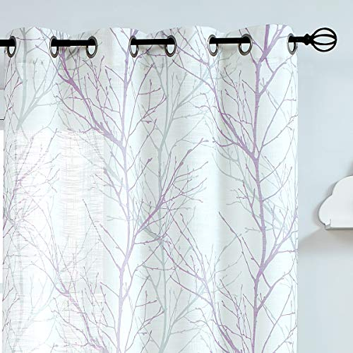 """Fmfunctex Print White Semi-Sheer Curtain Panels for Girl's Bedroom 63"""" Lilac and Grey Tree Branch Printing on Linen Textured Window Treatment Set for Living Room Draperies Purple 50""""w 2-Pack"""