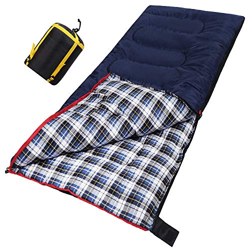 CAMPMOON Cotton Sleeping Bags for Adults, 3-Season Comfortable and Warm Flannel Sleeping Bag for Camping Outdoor Hiking Travel, Portable with Compression Sack, Blue 2lbs
