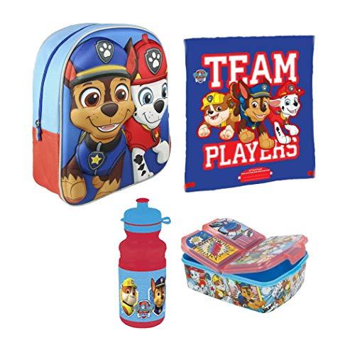 Kids4shop Paw Patrol 4 Teile Set Rucksack Kindergarten Tasche Hund Turnbeutel Brotdose Trinkflasche