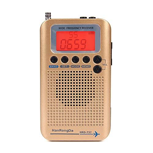 Docooler HanRongDa HRD-737 Banda Mundial de Banda de avión de Radio de Banda Completa portátil FM/Am/SW/CB/Aire/VHF con Pantalla LCD Reloj Despertador