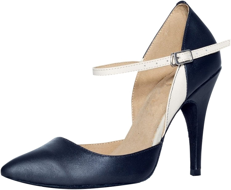 MsMushroom Woman's Genuine Leather Morden Ballroom Dance shoes 4  Heel