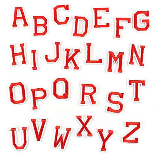 Ouceanwin 26 Stücke Patches Zum Aufbügeln Buchstaben, Bügelbild Aufbügler mit Gebügelt Klebstoff, A-Z Alphabet Applikation Stickerei Aufnäher für DIY Kleidung Hüte Jacken Hemden und Jeans (Rot)