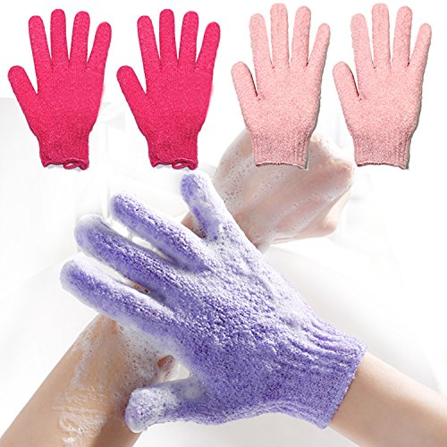 2 Pair Exfoliating Body Gloves Bath Scrub Wash Mitts Skin Massage Sponge Towel Deep Cleansing Dead Skin Brush Scrub Luxury Spa Loofah (red&pink)