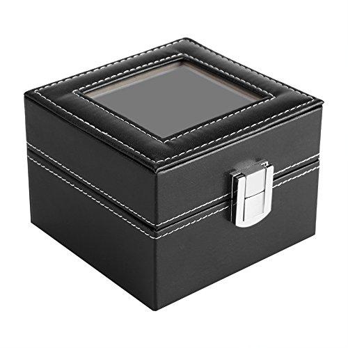 ZHC 2 ranuras de almacenamiento de reloj caja de visualización reloj de pulsera Organizador de joyería de lujo mujer hombre regalo (negro)