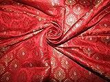 Brokat-Stoff aus Seide, Rot, Metallic Gold und Metallic