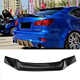 MotorFansClub Rear Spoiler Fit for Compatible with Lexus IS250 IS350 ISF R Style 2006-2013 Trunk Wing Spoiler (Real Carbon Fiber)
