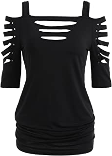 Woman Womens Fashion Shoulder Cut Lacerated Sleeve T-shirt Hollow Out Casual Tops