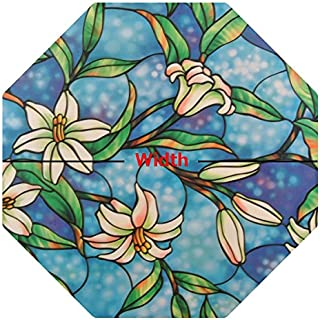 PROTINT WINDOWS Precut Octagon Orchid Decorative Window Film, Self Static Adhesive Cling, 24 inches Width