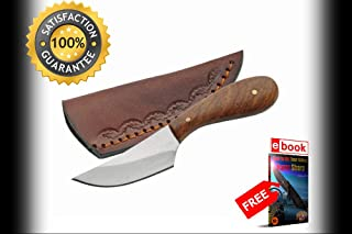 4.5'' Native American Indian Style Small Skinning Patch SHARP KNIFE with Sheath Combat Tactical Knife + eBOOK by Moon Knives