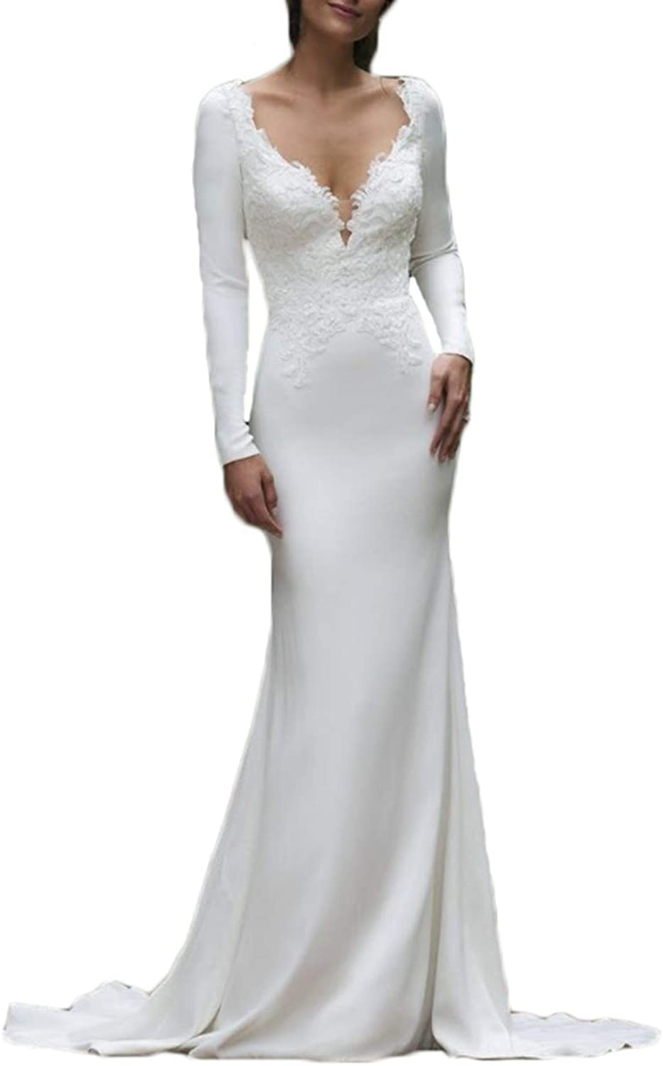 Alilith.Z Sexy V Neck Lace Wedding Dresses for Bride 2018 Elegant Long Mermaid Bridal Wedding Gowns with Sleeves
