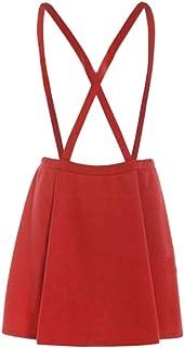 Macondoo Womens High Waisted Back Criss Pleated Plain Overalls A-line Skirts