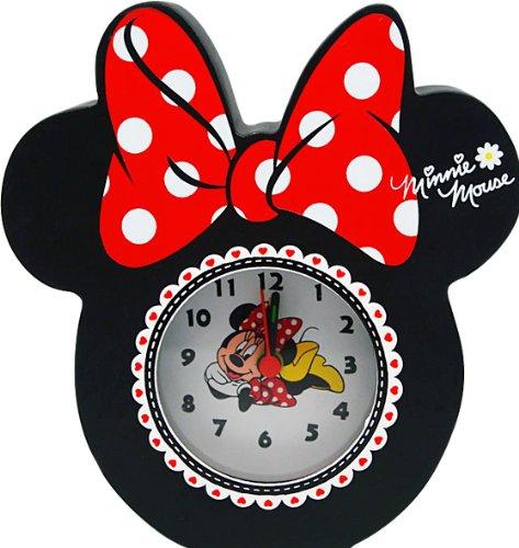Disney Minnie wekker analoog van hout gevormd in geschenkverpakking 14x4,5x15 cm 91001