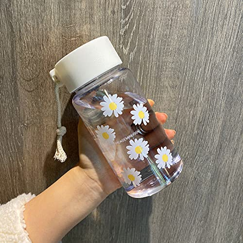 TJFGJ 500 ml pequeña Margarita Botellas de Agua plásticas Transparentes BPA Free Creative Frosted Water Botella con Taza de té de Viaje portátil (Capacity : 500ml, Color : Transparent 6 Flower)