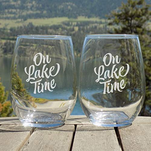 On Lake Time Wine Glass Set