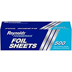 Made in the USA, this package contains 500 Reynolds Foodservice pre-cut pop-up aluminum foil sheets, measuring 12 inches x 10.75 inches Convenient pre-cut aluminum foil food wrap sheets are great for restaurants, catering operations, school cafeteria...