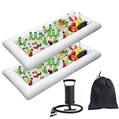 MaxSimple Inflatable Salad Serving Bar with Drain Plug,49.6824.44.7 Inch Serving Bar for BBQ Picnic Birthday Party/Pool Party Supplies Inflatable Cooler with Pump (White)