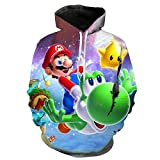 Super Mario Bros Sudaderas con Capucha 3D Hombres Mujeres Niños Dibujos Animados Anime Super Mario Impreso Niño Niña Ropa Sudadera Casual Streetwear-Wya463_3XL