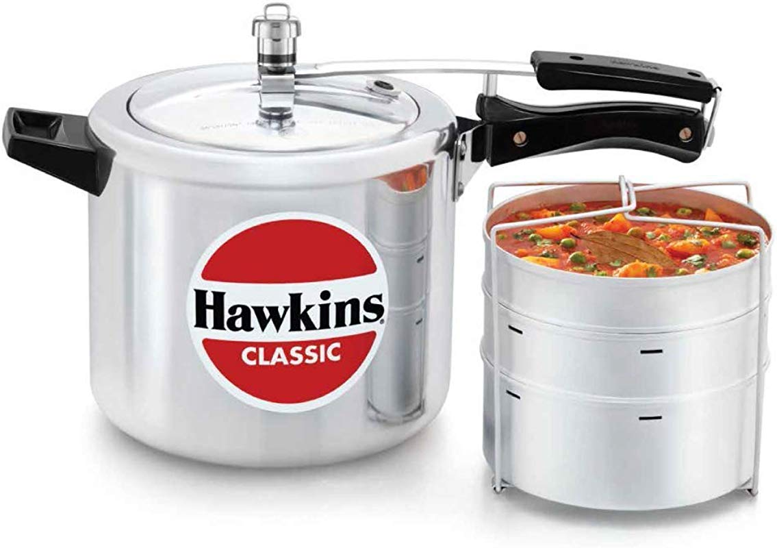 Hawkins CL66 6 5 Liter Classic New Improved Aluminum Pressure Cooker With Separator Small Silver