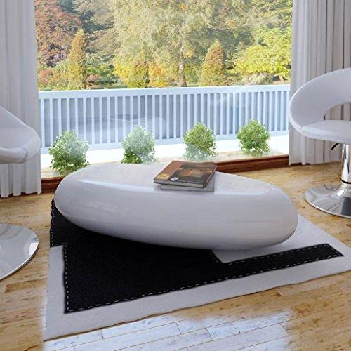 Roderick Couchtisch Irving Accent Tisch Fiberglas Hochglanz Weiß Couchtisch Set Maße: 100 x 50 x 28 cm