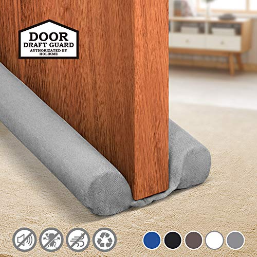 Holikme Twin Door Draft Stopper Weather Stripping Noise Blocker Window Breeze Blocker Adjustable Door Sweeps 34inch Grey