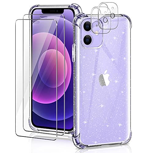 YIRSUR Funda Compatible con iPhone 12 Glitter con 2 Pack Cristal Templado...
