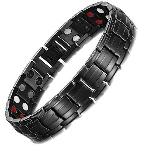 Rainso® Herren Armband Edelstahl Magnetische Armband, 4 Elements magnetische Armband für Männer mit Klappschließe, Leistungsstarke 3500 Gauß Magneten, und gratis Geschenk Beutel
