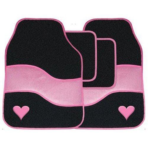 4pc Velour Auto Mat Fußraum Teppich Set mit farbigen binden Detail & Herz Motiv - Pink