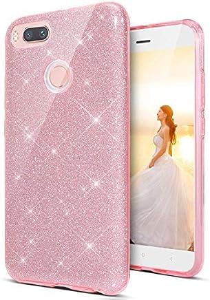 533228adad4 Coovertify Funda Purpurina Brillante Rosa Huawei P Smart, Carcasa  Resistente de Gel Silicona con Brillo