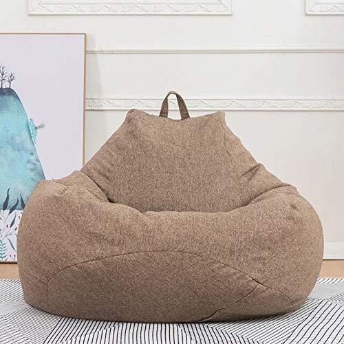 Gather together L 90 x 110 cm de lino marrón extraíble grande perezoso sofá cubierta de sillas sin relleno de algodón y lino asiento tumbona puf Puff sofá Tatami sala de estar