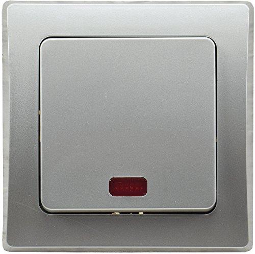 DELPHI Kontroll-Schalter mit Beleuchtung Orientierungsschalter mit 1-fach Rahmen Geeignet für Mehrfachrahmen Einsatz 55x55mm Silber Grau