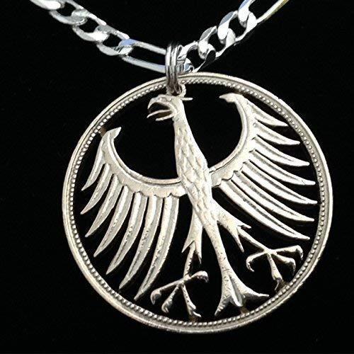 German Silver Five Mark Eagle Cut Coin Pendant Necklace