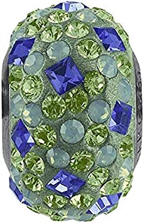 SWaROVSKI pave Medley Bead Multi Color Peridot, Sapphire Becharmed 14 mm-9.30 mm