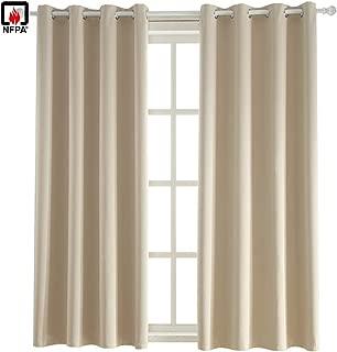 BEGOODTEX Flame Fire Retardant Curtain Window Treatment Set, Light Beige, 52W by 95L inch, 1 Panel