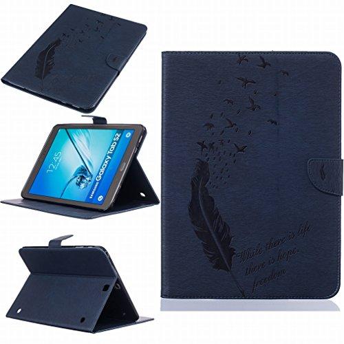 LEMORRY beschermhoes voor Samsung Galaxy Tab S2 9.7 (T813, T819), reliëf leer, magneetsluiting, TPU-siliconen, beschermhoes voor Galaxy Tab S2 (97), lente, geluk, Diep blauw