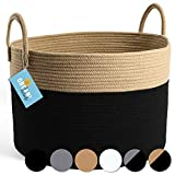 OrganiHaus XXL Cotton Rope Woven Basket   Blanket Storage Basket for Living Room and Laundry   Decorative Basket for Blankets   Rope Laundry Basket Woven   Extra Large Baskets 20x13 (Black/Honey)
