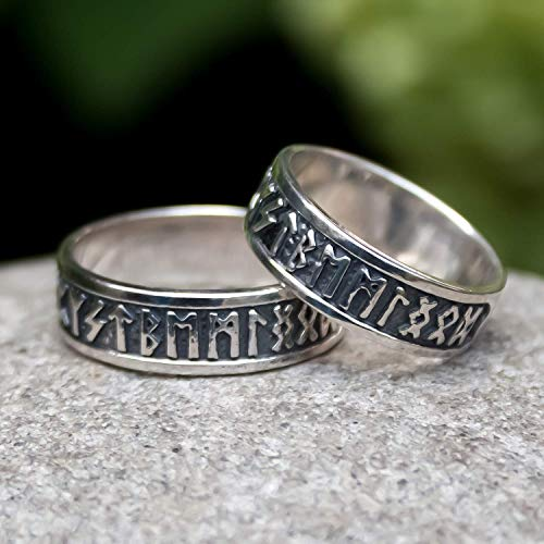 Viking Rune Band Thumb Ring Sterling Silver 925 Elder Futhark Runic Pagan Celtic Nordic Norse Scandinavian Odin Jewelry Ancient Wedding Engagement Rings for Men Women