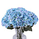 Kimura's Cabin Fake Flowers Artificial Silk Hydrangea Flowers Bouquets Faux Hydrangea Stems, for Home Table Centerpieces Wedding Party Decoration (Lake Blue)