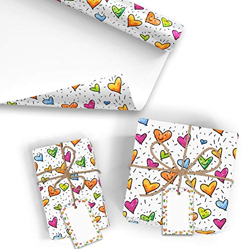 5x Geschenkpapier Motiv Herz - 5 große Bogen je 70 x 100 cm - verpackt als eine Rolle - inkl. Passende Geschenkanhänger - Umweltfreundliche Geschenkverpackung - Marke Neuser