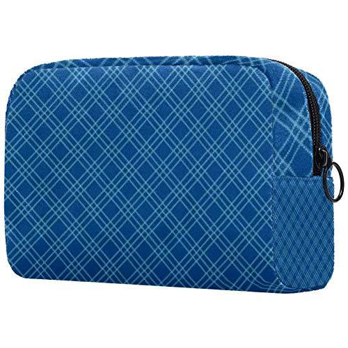 Trousse de toilette portable pour femme, sac à main, cosmétiques et voyage en sergé cyan, personnalisable