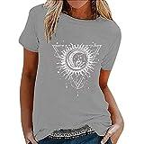 Camiseta para mujer, carta suelta de las mujeres impresa, triángulo de manga corta, moda, impresión de diente de león, suelto, blusa de verano, rojo / azul marino / amarillo / gris, s - xxxl, niños