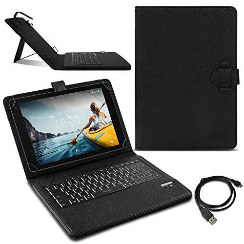 Bluetooth Tastatur QWERTZ kompatibel für Medion Lifetab E10414 Tablet Schutzhülle Tasche Hülle Deutsches Layout Schwarz